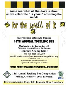 14th Annual Spelling Bee @ The Evergreen Center