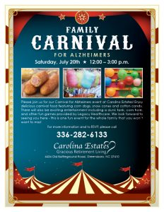 Family Carnival for Alzheimers @ Carolina Estates