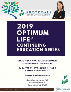 2019 Optimum Life Continuing Education Series @ Brookdale Lawndale Park