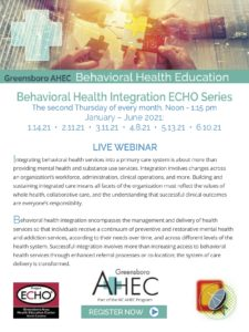 Behavioral Health Integration Echo Series @ Live Webinar
