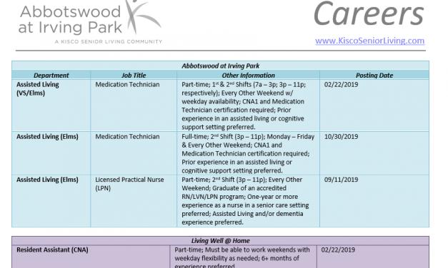 Job Openings at Abbotswood at Irving Park