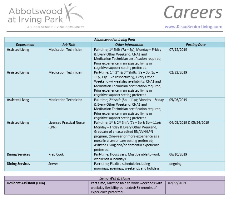 Abbotswood at Irving Park Job Openings