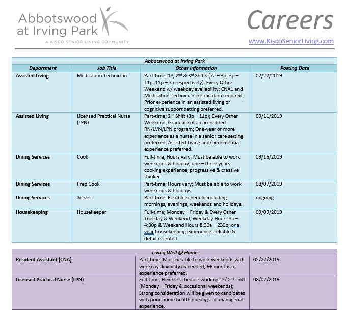 Abbotswood at Irving Park has Job Openings!