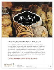 Sip & Shop Food theme! @ Abbotswood at Irving Park