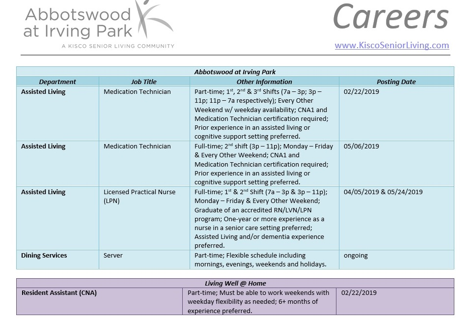 Careers at Abbotswood at Irving Park, June 2019