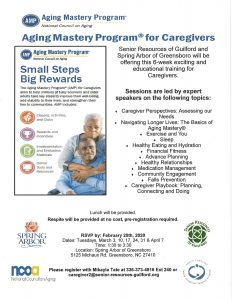 Cancelled for March Aging Mastery Program for Caregivers @ Spring Arbor Senior Living