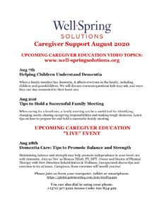 Caregiver Support August 2020 Well Spring Solutions