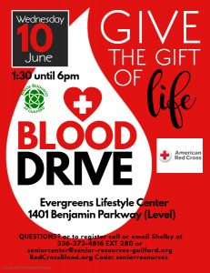 Blood Drive June @ Evergreens Lifestyle Center