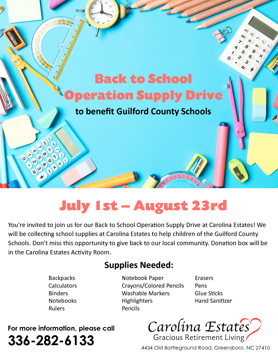 Back to School Operation Supply Drive