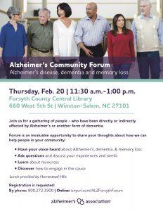 Alzheimer's Community Forum @ Forsyth County Central LIbrary