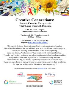 Creative Connections: An Arts Camp for Caregivers @ CAN-NC at Bell Campus