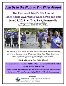 Fight Elder Abuse at Piedmont Triad Regional Council Area Agency on Aging's  Elder Abuse Awareness Walk on June 15, 2019 @ Triad Park