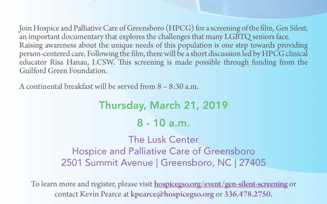 A screening and discussion on Gen Silent, a film that addresses the challenges LGBTQ seniors face particularly in long-term care settings