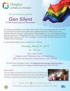 A screening and discussion on Gen Silent, a film that addresses the challenges LGBTQ seniors face particularly in long-term care settings @ The Lusk Center at Hospice and Palliative Care of Greensboro