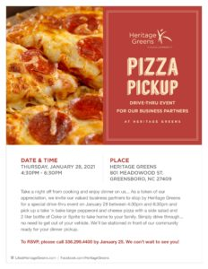 Pizza Pick Up at Heritage Greens! @ Heritage Greens