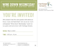 Wine Down Wednesday with Heritage Greens @ Heritage Greens