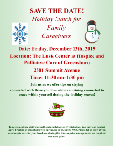 Holiday Lunch for Family Caregivers @ The Lusk Center
