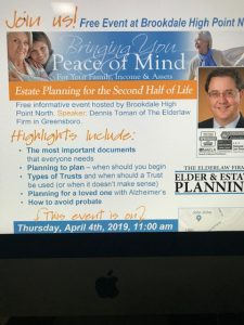The Elder Law Firm Free Event: Estate Planning for the Second Half of Life @ Brookdale High Point North