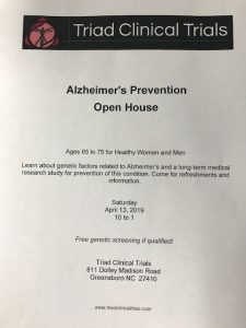 Alzheimer's Prevention Open House @ Triad Clinical Trials