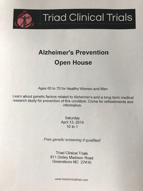 Alzheimer's Prevention Open House