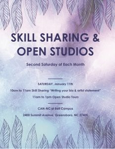 Cancelled: Artist Skill Sharing Workshop & Open Studios! @ CAN NC Bell Campus