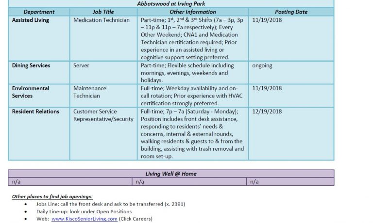 Career opportunities at Abbotswood at Irving Park