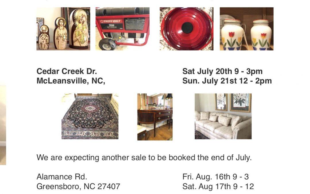Blue Moon Estate Sales of the Triad Summer Sales