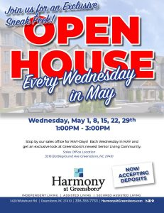 Exclusive Sneak Peak Open House Every Wednesday in May @ Harmony at Greensboro Sales Office