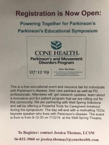 Cone Health Parkinson's and Movement Disorders Program @ Well Spring Theatre