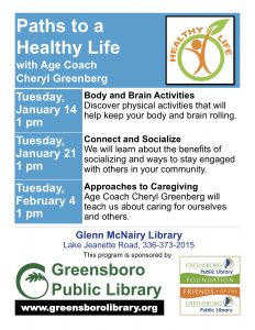 Path's to a Healthy Living with Age Coach Cheryl Greenberg @ Glenn McNairy Library