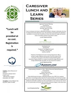 Senior Resources of Guilford Lunch and Learn Series - Legal and Financial Planning @ Senior Resources of Guilford, Evergreeens Lifestyle Center