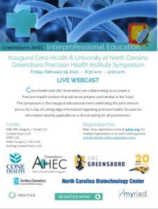 Inaugural Cone Health & University of North Carolina Greensboro Precision Health Institute Symposium @ Virtual
