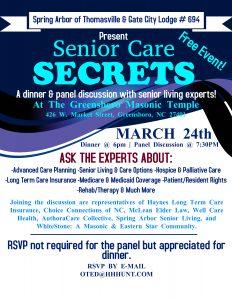 CANCELLED: Senior Care Secrets @ The Greensboro Masonic Temple
