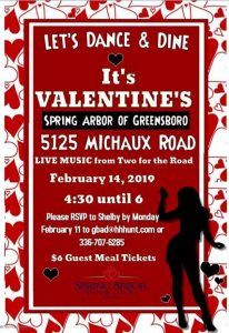 Valentines Dancing and Dining Event at Spring Arbor @ Spring Arbor
