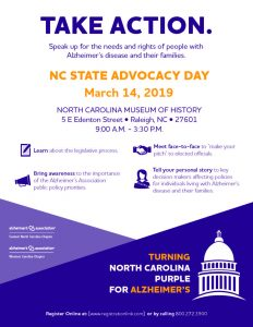 North Carolina State Advocacy Day for Alzheimer's is March 14, 2019 @ North Carolina Museum of History