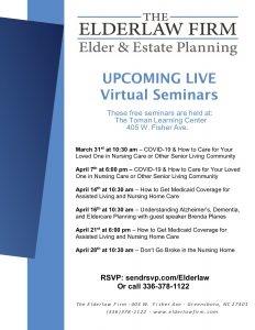 Understanding Alzheimer's, Dementia, and Eldercare Planning @ Virtual