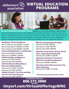 Alzheimer's Association Virtual Education Programs @ Virtual