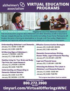 Alzheimer's Association Virtual Education Programs January @ Virtual
