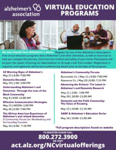 Alzheimer's Virtual Education Programs in May @ Virtual