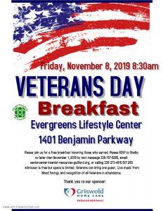 Veterans Day Breakfast @ Evergreens Lifestyle Center