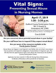 Vital Signs: Preventing Sexual Abuse in Nursing Homes @ Guilford County Family Justice Center