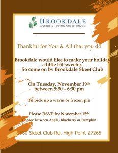 Dash & Dine Pie Pickup to give THANKS @ Brookdale Skeet Club