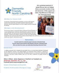 What Makes You a Dementia Friend? @ Senior Resources Facebook Live