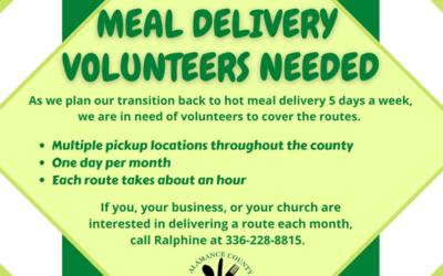 Alamance County Meals on Wheels needs Volunteers
