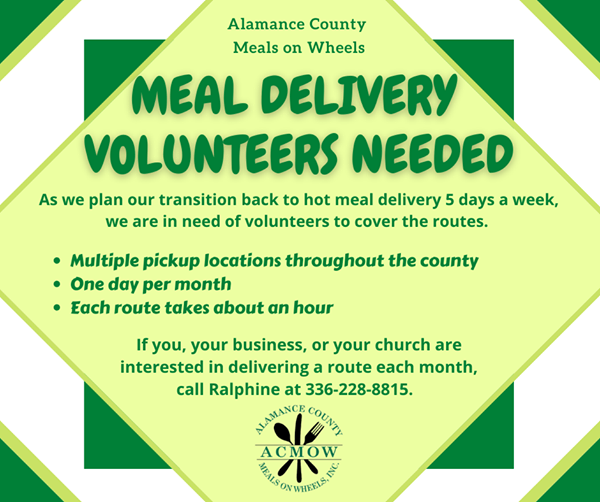 Alamance County Meals on Wheels needs Volunteers