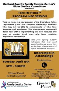 Take Me Home Program: Guilford County Family Justice Center @ Virtual