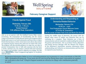 Well Springs Solutions February 20th Caregiver Support - Friends Against Fraud @ Temple Emanuel