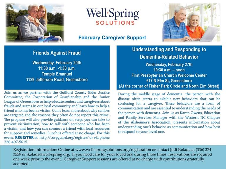 Well Springs Solutions February 27th Caregiver Support – Understanding and Responding to Dementia-Related Behavior