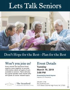 Let's Talk Seniors - Don't Hope for the Best, Plan for the Best presented by David Haynes @ The Stratford Independent Retirement Living