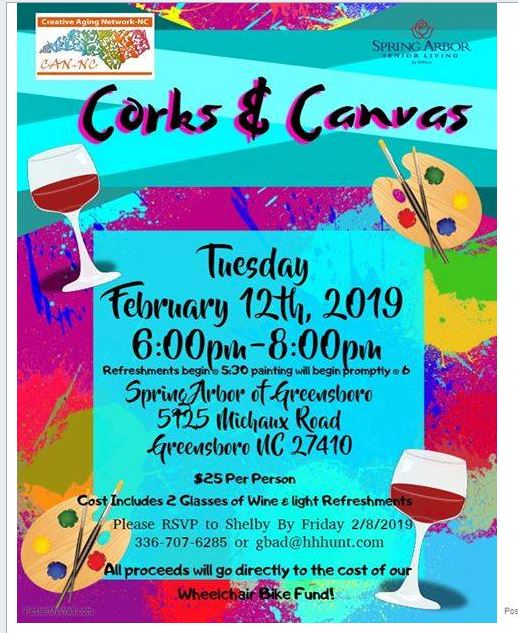 Creative Aging Network and Spring Arbor present Corks & Canvas